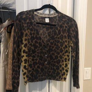 JCrew cropped leopard cardigan.